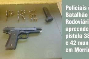 Polícia Rodoviária Estadual apreende arma e munições em Morrinhos