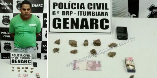 GENARC de Itumbiara realiza flagrante, prende suspeito e apreende drogas
