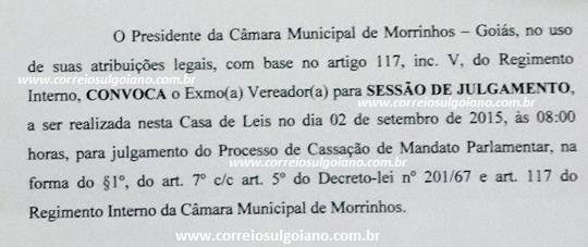Câmara de Morrinhos decidirá cassação ou absolvição no dia 2 de setembro