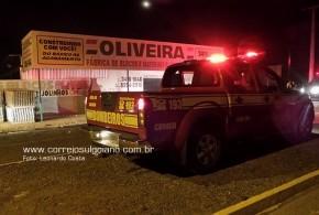 Corpo de Bombeiros trabalha para conter incêndio em Loja de Material de Construção