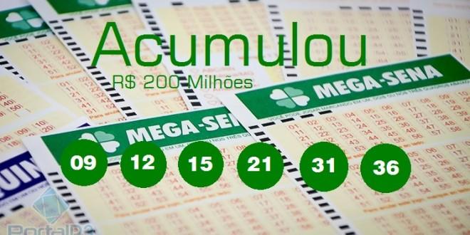 ACUMULOU… Mega Sena poderá pagar R$ 200 milhões na quarta-feira, 25/11