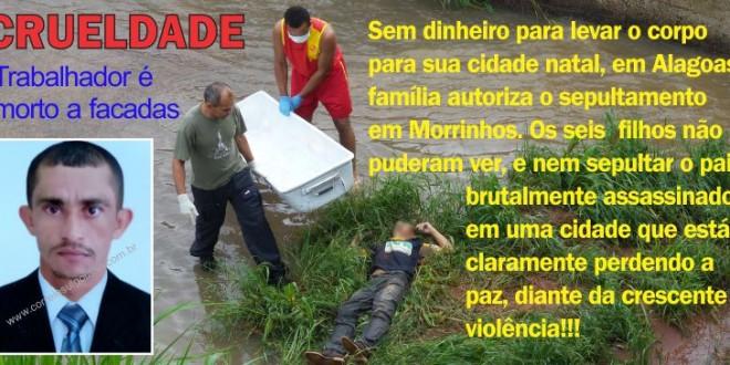 SEM VELÓRIO: Homem assassinado a facadas é sepultado em Morrinhos, sem recursos para traslado do corpo