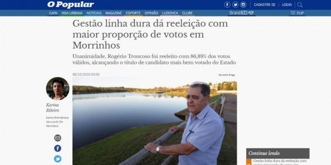RECONHECIMENTO: Expressiva votação faz imprensa estadual enxergar prefeito de Morrinhos – finalmente!