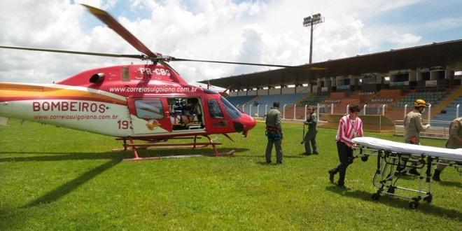 Trabalhador sofre acidente em propriedade rural. Com TCE grave é transferido de helicóptero para o HUGO