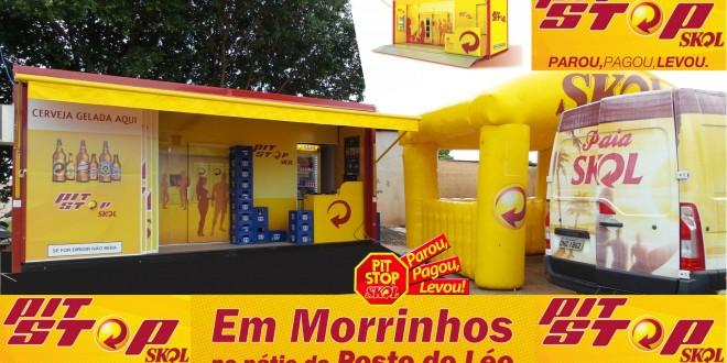 Pit Stop Skol é sucesso em Morrinhos. No pátio do Posto do Léo, a nova tendência na compra de cerveja gelada