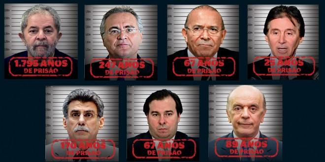 Mais de 2.500 anos de prisão para um pequeno grupo de famosos réus e investigados por corrupção